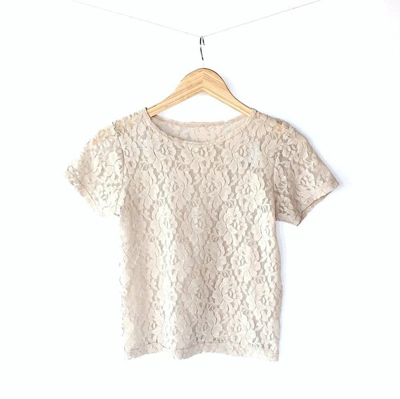 Vintage 80s Nude Lace Sheer Stretch Knit Top // Small Baby Tee