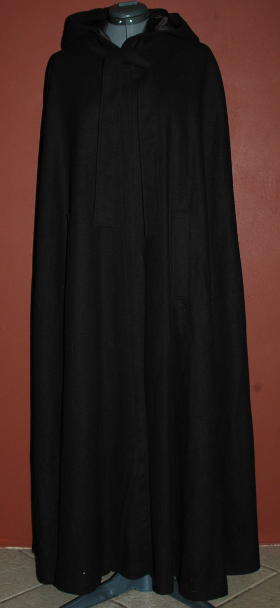 Vintage 70s Black Wool Cape Cloak Full Length