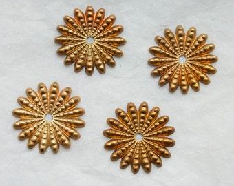 4 Vintage 1950s Baroque Brass Starburst Stampings