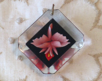 CLEARANCE SALE - Vintage Reverse Carved Lucite Floral Orchid Pendant (N-1-1)