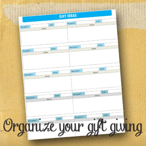 Gift Ideas / Planner Page / Form / DIY / Printable / 8.5 x 11