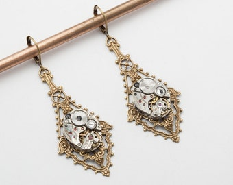 Steampunk Dangle Earrings vintage silver watch movements on flower & leaf Victorian styled gold filigree drop earrings Wedding jewelry Gift