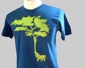 Elephant Tree T Shirt Organic Teal Unisex