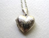 Sterling silver engraved vintage heart locket necklace on short chain
