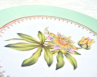Passionflower Plate Andrea by Sadek 1980's Retro Botanical Floral Decorative Display Serving Dish - Vintage Pink, Green, & Gold Flower Decor