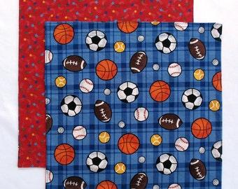 Cloth Napkin, Kids Fabric Lunch Box Napkin, Sports Balls, 1 double sided napkin