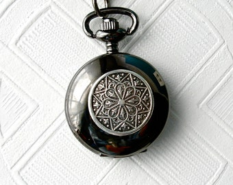 Steampunk Pocket Watch Necklace Set Watch Locket Pendant & Earrings Gunmetal Art Nouveau Silver Star Mandala Compass Bridal Wedding Birthday