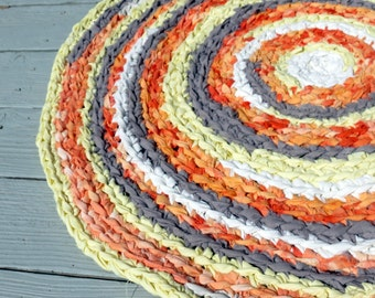 """Rag rug  - round - Hermes scarf - inspired, coral, yellow, gray, hand dyed, 40"""" round Cottage chic, baby, nursery, bedding"""