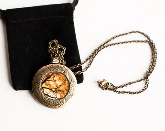 Art Locket, Woodland Locket in Gold & Black Fall Gift Photo Locket, Picture Locket for women