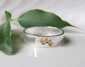 Gold and Silver Leaf  Band Ring 24 carat gold