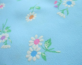 Blue Flocked Flowers Fabric by the Yard Vintage Fabric