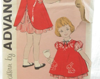 Advance 9378 Rare 1960s Girls Dress and Pinafore Vintage Sewing Pattern Easy Sew