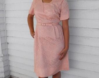 Vintage 50s Pink Lace Dress Party 1950s Le Vine L XL Plus 44 Bust
