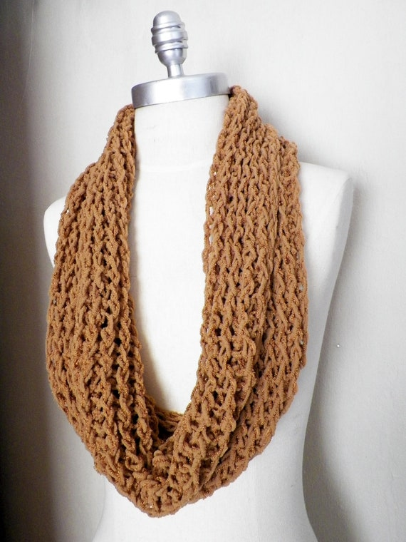 ON SALE Camel Colored Fall Scarf, Super Soft, Wide, Infinity Style, Knit Autumn Scarf, Neutral, Rustic,