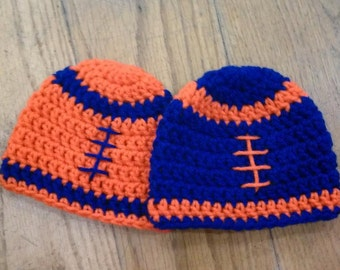 Twin Blue and Orange Florida Gator's Inspired Football Beanie Hats- Set of Two