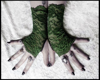 Arwen Lace Fingerless Gloves - Deep Fern Army Green Floral - Gothic Vampire Lolita Wedding Fetish Dark Tribal Goth Gypsy Moss Olive Hunter