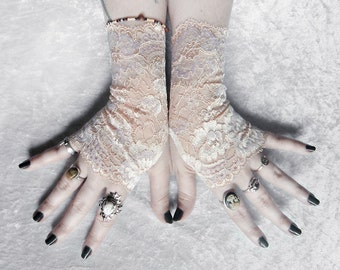 Conceit Lace Fingerless Gloves | Pale Nude Peach Cream Lavender Ivory Floral | Wedding Gothic Regency Pastel Goth Bridal Fetish Bridesmaid