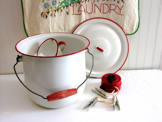 Vintage Enamelware Chamberpot Bucket & Lid White Red Wooden Handle Laundry Soap Compost Enamel
