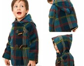 CUSTOM Childs Winter Jacket - Plaid Toggle Jacket - Car Coat - Winter Coat - Made to Order