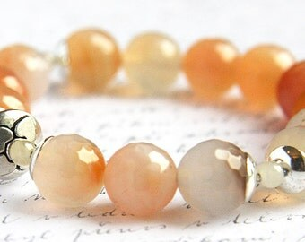 Boho Jewelry Blush Orange Pink Agate Bracelet Bohemian Jewelry Stacking Bracelet Sterling Silver Peach Gemstone Stone Statement Bracelet