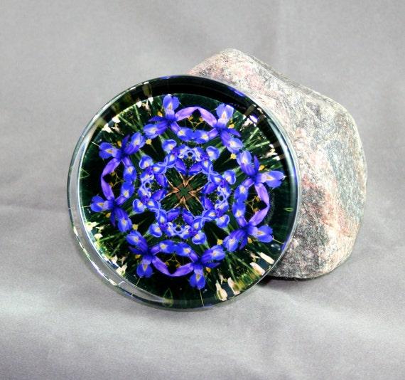 Glass Paperweight Blue Iris Mandala Boho Chic Sacred Geometry New Age Hippie Kaleidoscope Unique Boss Gift Teacher Gift Cerulean Credence