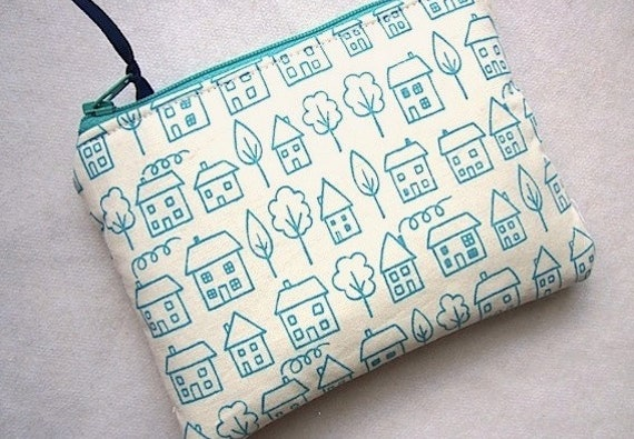 DAILY DEALS -Zip Purse Pouch Gadget Coin Case Padded -My Town- Turquoise off white