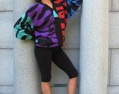 Obermeyer Color Block Animal Print Zip Front Sweater