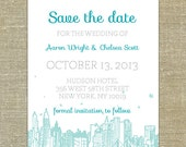 New York City skyline save the date; SAMPLE ONLY