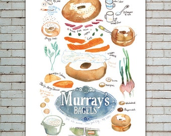 Bagel print, Kitchen art print, Illustrated recipe poster, Bagel recipe illustration, Kitchen decor, Food print, 8X10 print, Wall art print