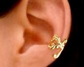 Empire feather ear cuff Gold earrings Feather jewelry Feather earrings Small clip non pierced Gold ear cuff earcuff for men, women C-086G
