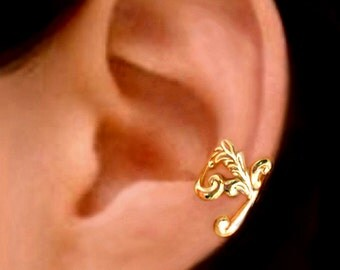 Empire feather ear cuff Gold earrings Feather jewelry Feather earrings Small clip non pierced Gold ear cuff earcuff for men, women C-086G