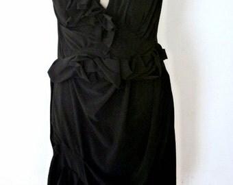 Black Jazzy Dress with Ruffle Waist/v neck/elegant dress for wedding,dinner,special occasion by Cheryl Johnston for Cheryldine