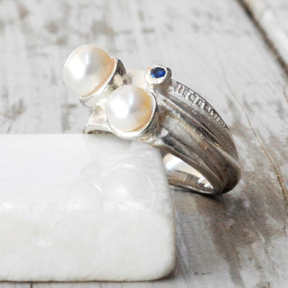 White Pearl Ring, Sterling Silver Blue Sapphire and Culture Pearls, June Birthstone Statement ring,  Fashion Jewelry, Unique Gifts for Women