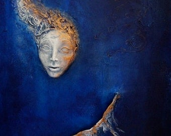COMMISSION: Blue Angel. Wall Sculpture, by Fae Factory Visionary Artist, Dr Franky Dolan (original clay relief canvas painting) {SEE VIDEO}