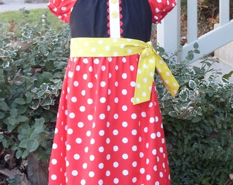 Modern Minnie Peasant Dress, Size 18 Months-2, 3-4, 5-6, 7-8, and 9-10.
