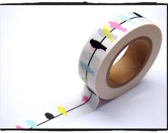 Colorful Birds Washi Tape 15mm WT248 2 rolls
