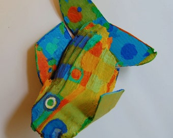 Recycled Wood Fish Art - COLORFUL Whimsical Funky Fish Ready to Hang Handmade Unique Fish Creation
