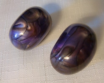 Vintage / LEA STEIN ??? / Earrings / Clip / Lucite / Moonglow / Purple / Marbled / Huge / Massive / Modernist / Art Moderne / Accessories