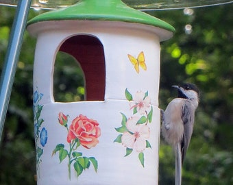 Hanging Ceramic Bird Feeder with Flowers, Squirrel Proof
