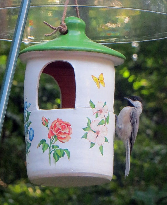 Hanging Ceramic Bird Feeder with Flowers, Squirrel Proof