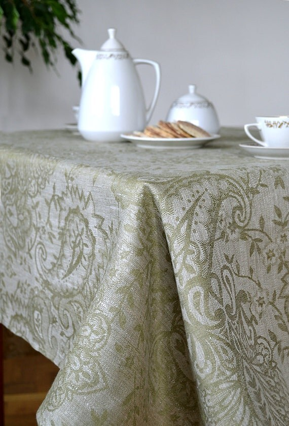Table Cloth Green : Linen Tablecloth, Damask Tablecloth, Olive Green with Gray Tablecloth ...