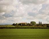 Tuscany Italy Photography - Italian Wall Decor - Landscape Photograph - Green Fields Print - Rustic Harvest Decor - Farmhouse Print