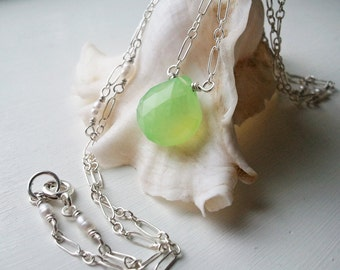 Green Chalcedony and Tiny Pearls Mermaid Necklace  by Quintessential Arts