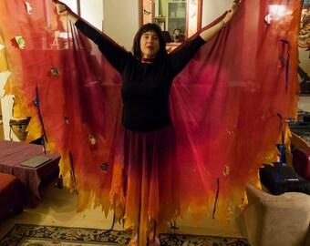 Custom Tattered Silk Bellydance Isis Wings, Angel Wings, Fairy Wings.  Freya Silk Veils