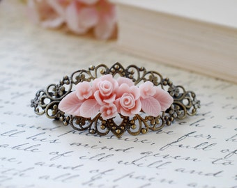 Pink Flower Bouquet Filigree Hair Barrette. Vintage Style Antique Brass Filigree Clip Barrette with Pink Flower. Bridesmaid Hair Accessory