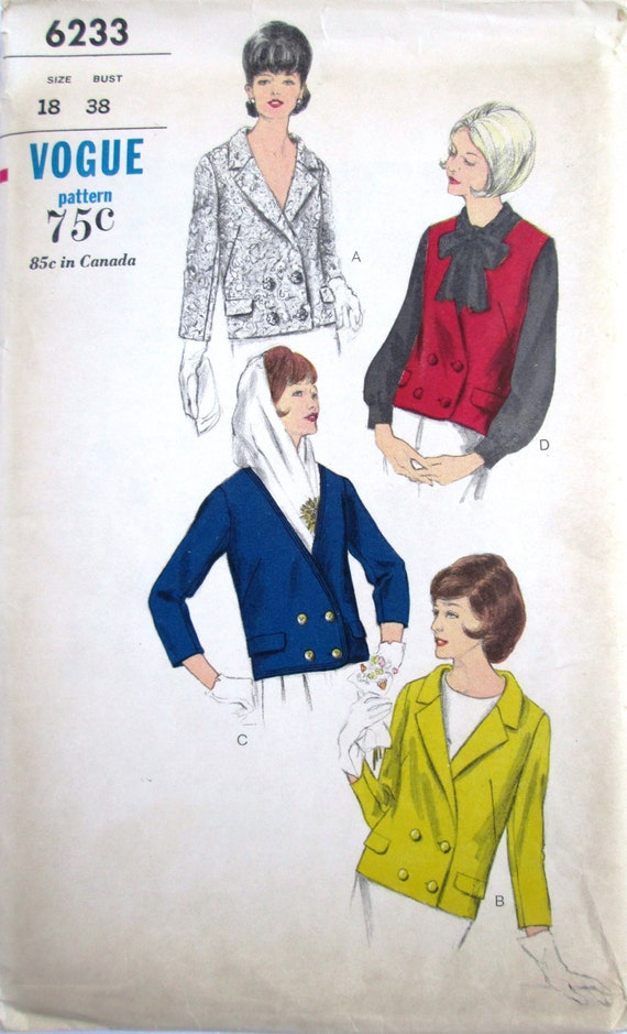 Vogue 6233 Womens 60s Double Breasted Jacket Sewing Pattern Bust 38