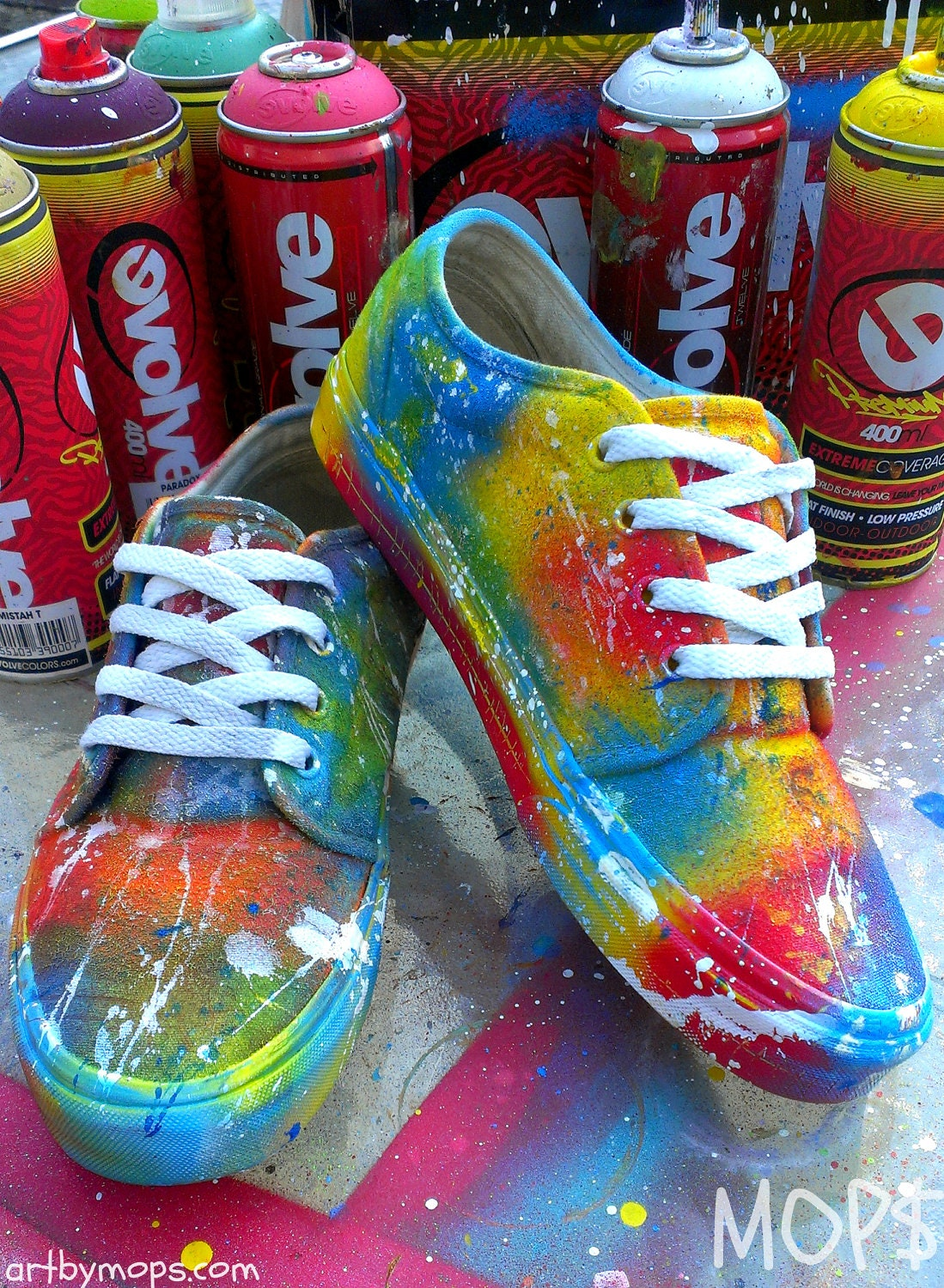 custom painted vans shoes by mops in a graffiti by