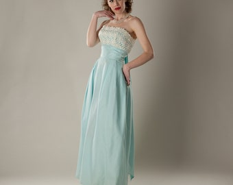 Vintage 1960s Strapless Prom Dress - Blue Empire Waist - Lace Bridal Fashions