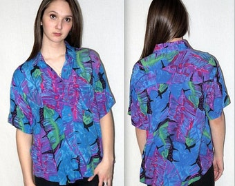 Rad .. Vintage 80s wild rayon blouse / 1980s button up down shirt / seapunk rave kawaii / boxy slouchy house party