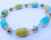 Handmade Yellow Bracelet Turquoise Bracelet Teal Bracelet Crystal Bracelet Turquoise Crystal Bracelet Brazilian Bracelet Caribbean Bracelet